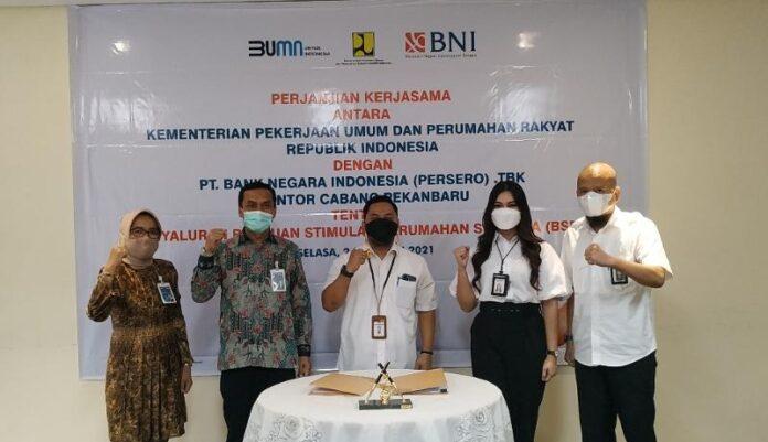 Kementerian PUPR menggandeng BNI untuk menyalurkan dana Program BSPS atau bedah rumah di Provinsi Riau