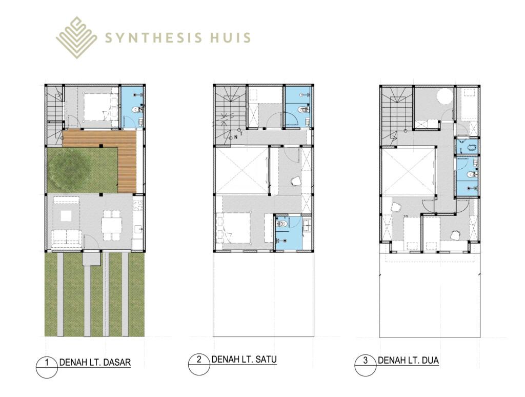 Layout rumah berukuran 6x15 di Synthesis Huis