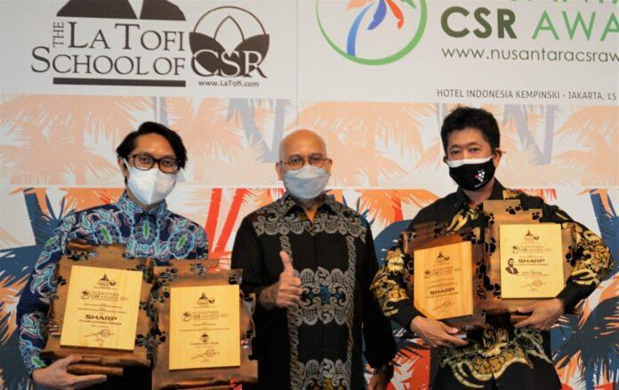 Sharp Indonesia Borong Empat Penghargaan di Ajang Nusantara CSR Award 2021